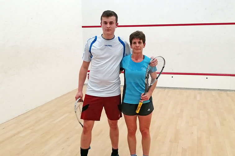 Sam Clark and Linda Pritchard after the conclusion of their Squash Open final
